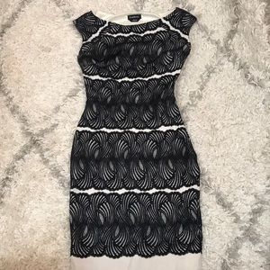 Bebe white dress with black lace